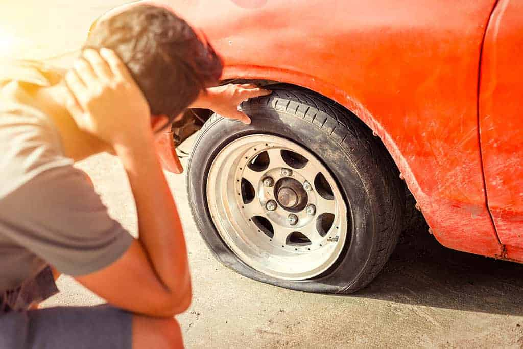 A customer stuck on the side of the road in Mays Landing with a flat tire.